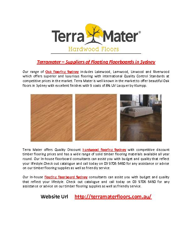 Terramater – Suppliers of Floating Floorboards in Sydney