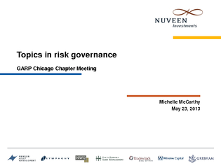 Topics in risk governance GARP Chicago Chapter Meeting