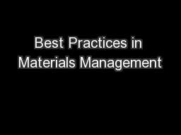 Best Practices in Materials Management