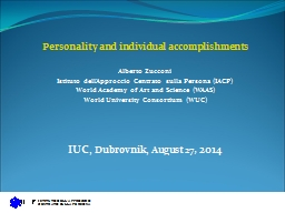Personality and individual accomplishments