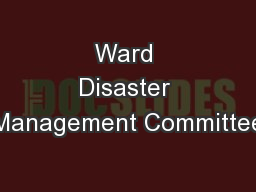 Ward Disaster Management Committee