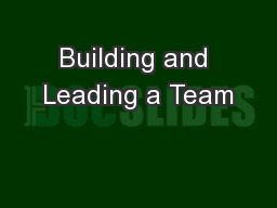 Building and Leading a Team