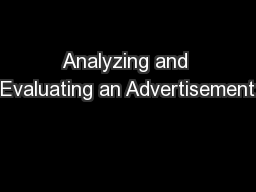 Analyzing and Evaluating an Advertisement