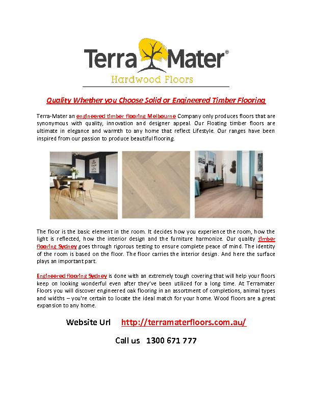 Quality Whether you Choose solid or Engineered Timber Flooring