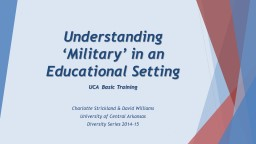 Understanding 'Military' in an Educational Setting PowerPoint PPT Presentation