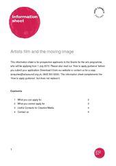 Artists film and the moving image This information sh
