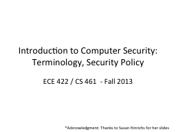 Introduction to Computer Security: Terminology, Security Po PowerPoint PPT Presentation