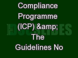 Internal Compliance Programme (ICP) & The Guidelines No