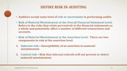 Define risk in AUDITING