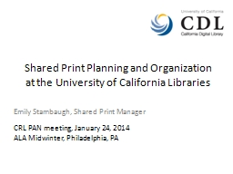 Shared Print Planning and Organization