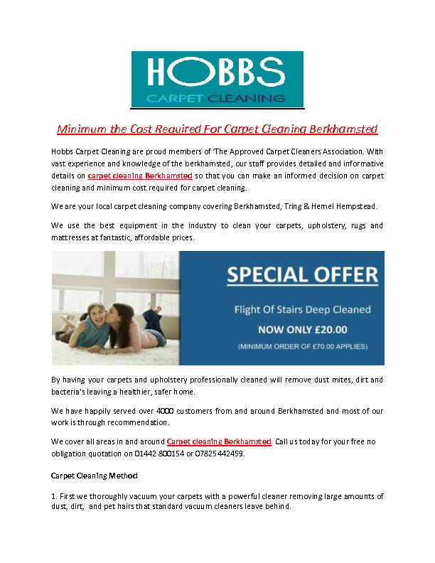 Minimum the Cost Required For Carpet Cleaning Berkhamsted PowerPoint PPT Presentation