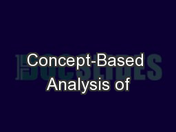 Concept-Based Analysis of