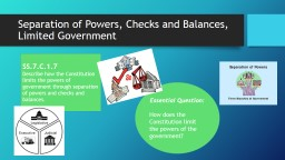 Separation of Powers, Checks and Balances, Limited Governme