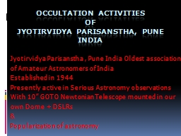 Occultation Activities