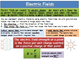 Electric Fields PowerPoint PPT Presentation