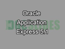 Oracle Application Express 5.1