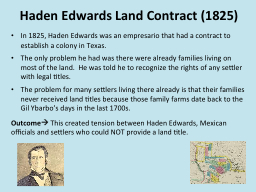 Haden Edwards Land Contract (1825)