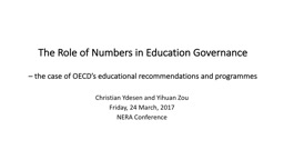 The Role of Numbers in Education Governance