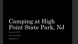 Camping at High Point State Park, NJ