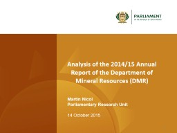 Analysis of the 2014/15 Annual  Report of the Department of PowerPoint PPT Presentation