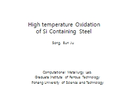 High temperature Oxidation
