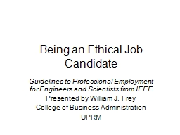Being an Ethical Job Candidate PowerPoint PPT Presentation