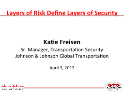 Layers of Risk Define Layers of Security