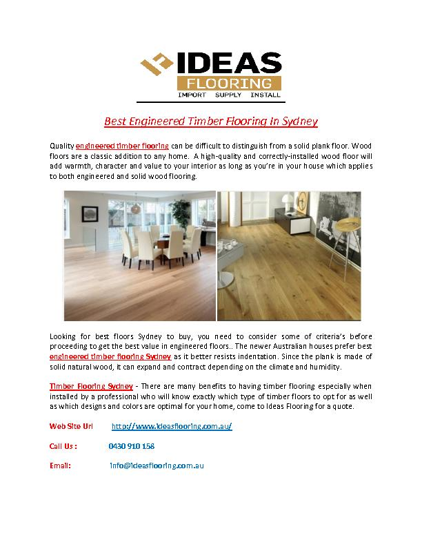 Best Engineered Timber Flooring In Sydney