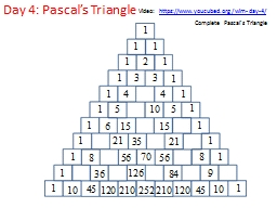 Day 4: Pascal's Triangle