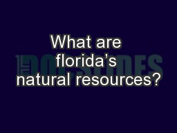 What are florida's natural resources? PowerPoint PPT Presentation