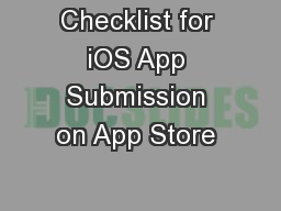 Checklist for iOS App Submission on App Store