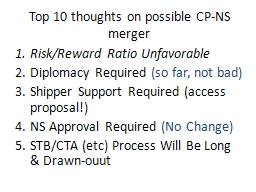 Top 10 thoughts on possible CP-NS merger