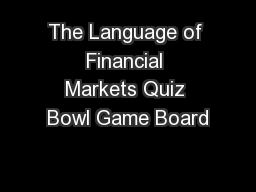 The Language of Financial Markets Quiz Bowl Game Board