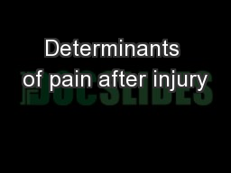 Determinants of pain after injury