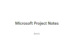 Microsoft Project Notes