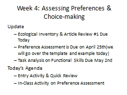 Week 4: Assessing Preferences & Choice-making PowerPoint PPT Presentation