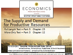 The Supply and Demand