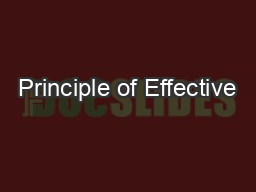 Principle of Effective