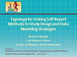 Typology for Linking Self-Report Methods to Study Design an