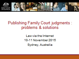 Publishing Family Court judgments : problems & solution