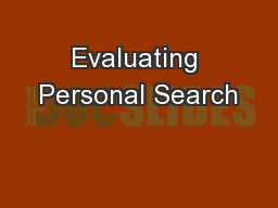 Evaluating Personal Search