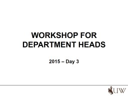 WORKSHOP FOR DEPARTMENT HEADS PowerPoint PPT Presentation