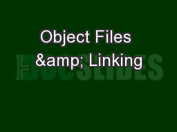 Object Files & Linking