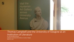 Thomas Campbell and the University of Glasgow as an Institu