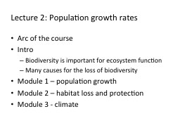 Lecture 2: Population growth rates