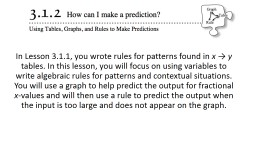 In Lesson 3.1.1, you wrote rules for patterns found in