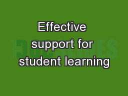 Effective support for student learning