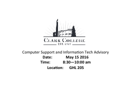 Computer Support and Information Tech Advisory