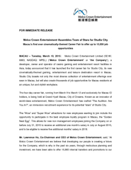 FOR IMMEDIATE RELEASE Melco Crown Entertainment Assemb