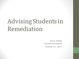 Advising Students in Remediation